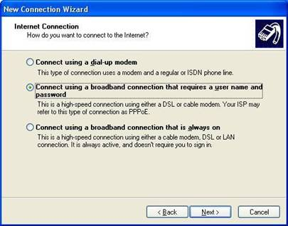 network connection wizard